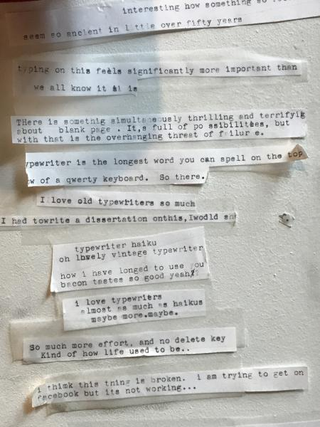 A note composed on Literati's public typewriter