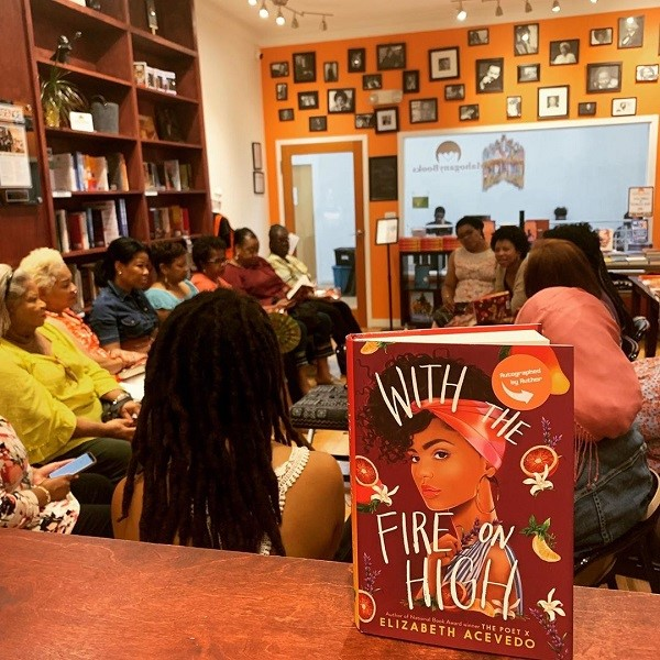 An interior shot of MahoganyBooks, where Elizabeth Acevedo's WITH THE FIRE ON HIGH is on display.