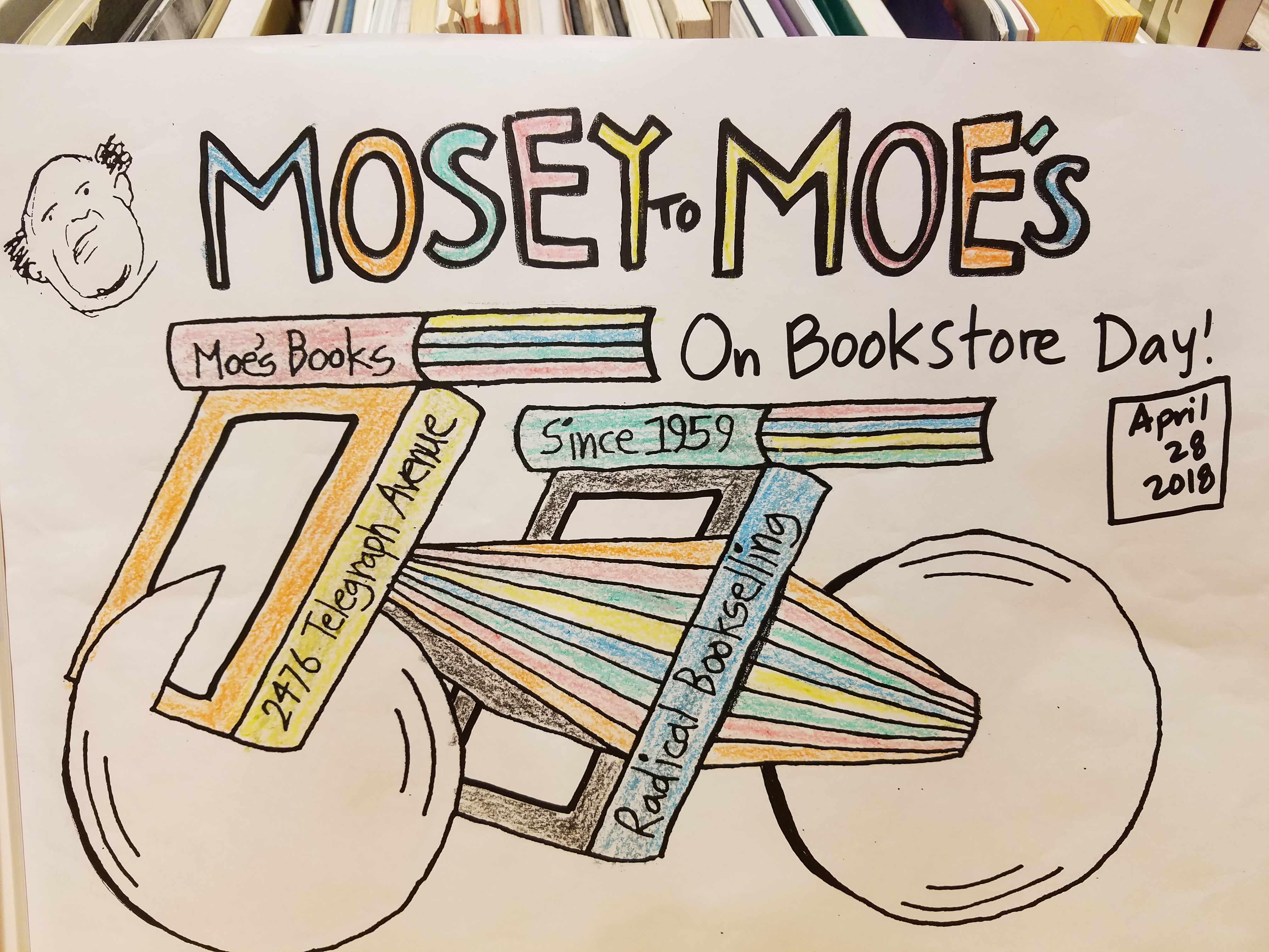 "A finished ""Mosey to Moe's"" coloring sheet from the Berkeley store's IBD contest"