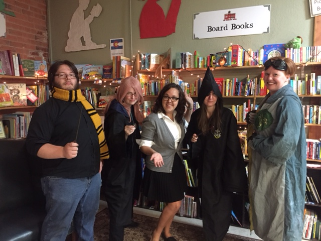 Group of Harry Potter cosplayers at Old Firehouse Books.