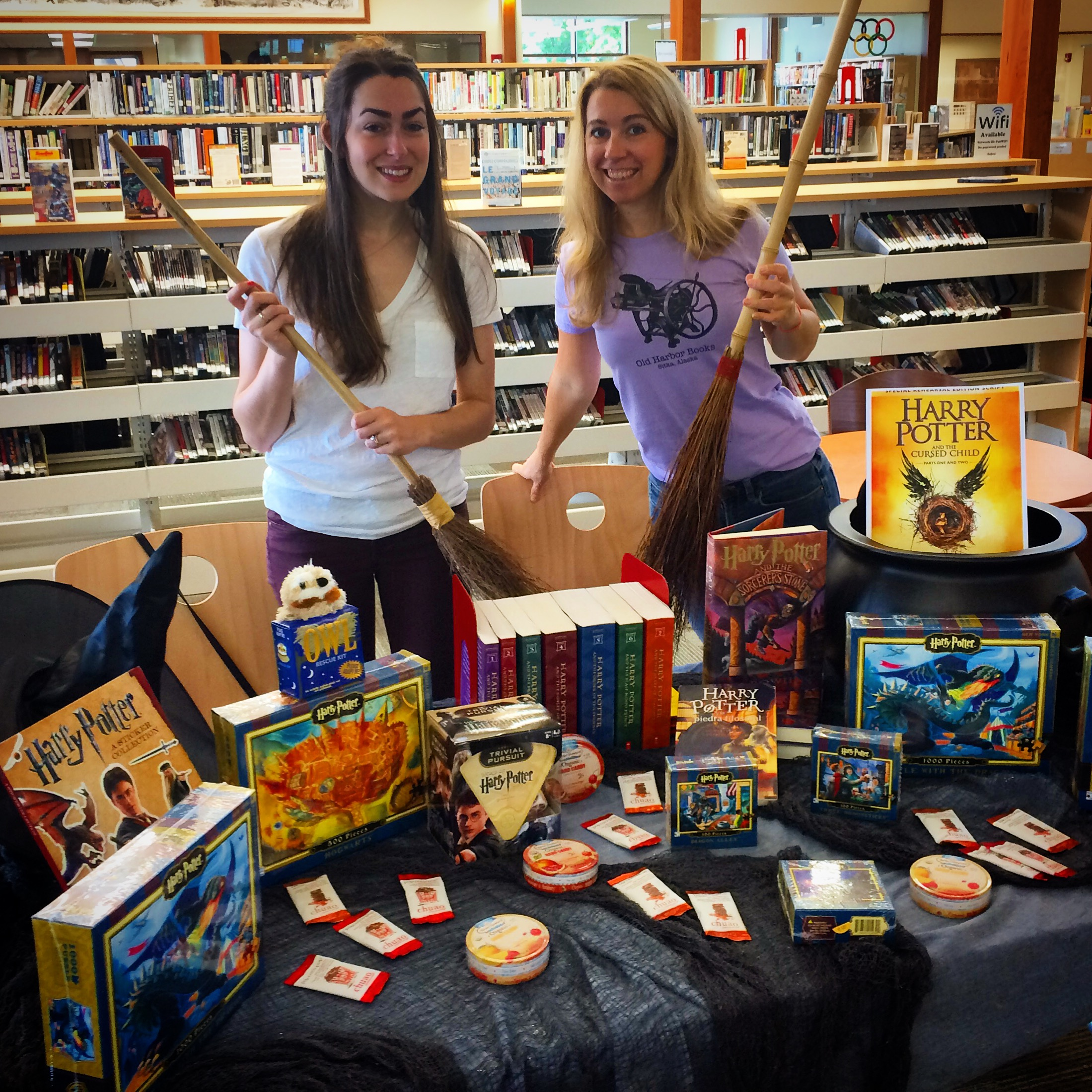 Booksellers set up for Harry Potter party.