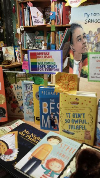 Display of titles on diversity and activism at Green Bean Books