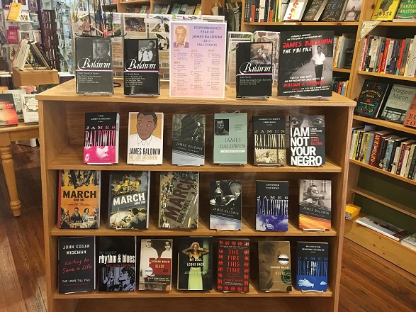 """Year of the Author"" James Baldwin display at Scuppernong Books in Greensboro, North Carolina"