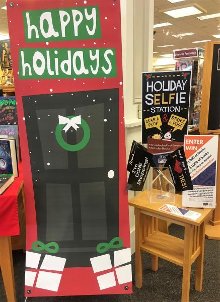 The selfie station at Schuler Books & Music helps customers easily enter the sweepstakes.