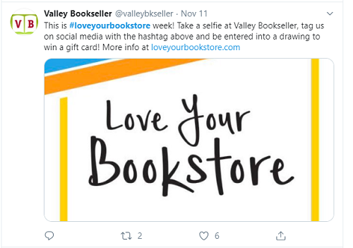 Valley Bookseller in Minnesota encouraged their community to vote on Twitter.