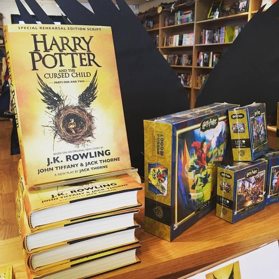 Harry Potter script book display.