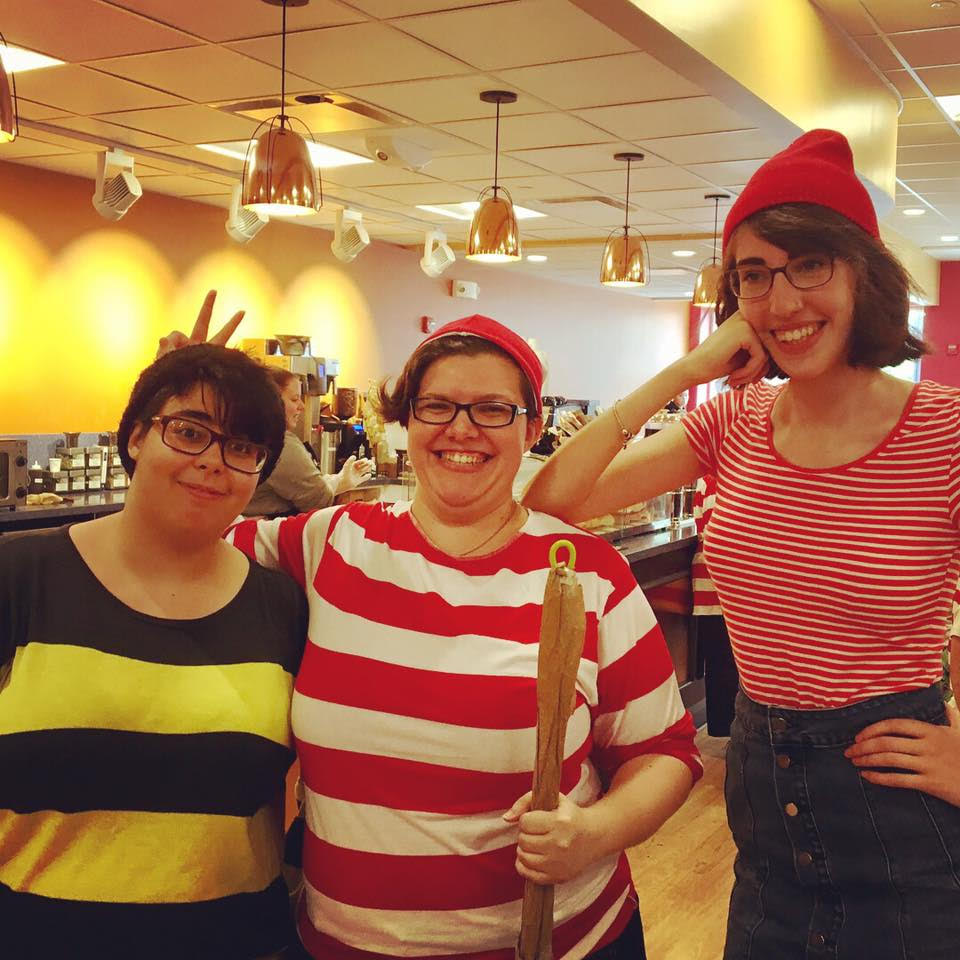 Three staff members at Belmont Books in Belmont, Massachusetts, dressed up as Odlaw, Waldo, and Wenda.