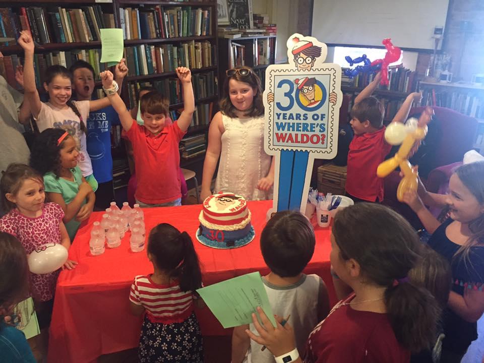 Kids celebrate the Find Waldo Local finale at Books on Broad in Camden, South Carolina.