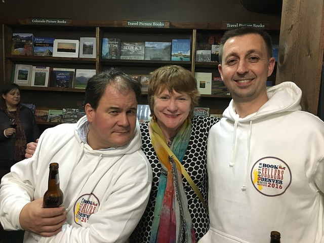 Blue Willow's Valerie Koehler with two of the 40 international guests at Wi11.