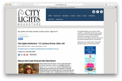 Home page of City Lights Bookstore website