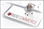"Shopping cart on top of keyboard key labeled ""IndieCommerce."""