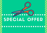 Scissors cutting out a special offer coupon