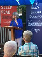 Betsy Burton speaks at the 40th birthday party for The King's English Bookshop.